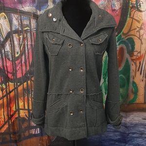 Hurley distressed seam charcoal gray coat